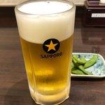 ヨーロッパ軒 - 生ビール(中) 650円。
