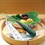 壽山 - 八寸 茆トマト・さつまいも・海老・枝豆・玉蜀黍のかき揚げ