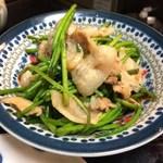 喜来楽 - 水連菜と豚バラ肉のニンニク炒め