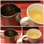 グルメ風月 - ◆スープとソースが最初に出されます。 「スープ」は薄めのコンソメ味