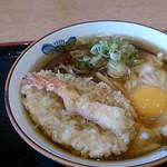 今庄 駅前店 - ちゃんぽんに天ぷらと生卵トッピング