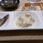 浅野日本酒店 KYOTO - あて三点盛り 炙りしめさば、ポテサラ、レンコン
