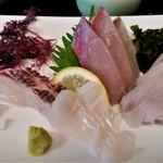 玄海 若潮丸 - お刺身、アップ。コリコリして美味しかったです。