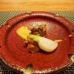 天の川 かささぎ - 焼き物。鶏肉とカブを西京味噌のソースで。