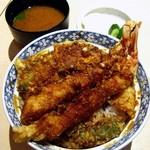 光村 - 天丼(大海老2本/いか/野菜)1300円