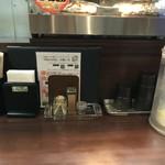 麺のようじ - カウンター席(水はセルフ)