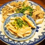 煮こみ - 刺身盛(酢もつ、センマイ刺)