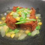 uchi - 揚げ胡麻豆腐 旬の野菜の葛あんかけ2