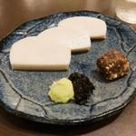 蕎麦和食はたり - 三種盛り(そば味噌、山葵のり、板わさ)900円
