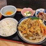89383423 - 朝定食(¥390)<温かけ>+野菜のかき揚げ(+¥100)