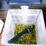 元祖一条流 がんこ総本家 - 言えば冷蔵庫から生青唐辛子の微塵切りを出してくれます。