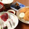 田舎レストランじんべえ - 料理写真:アジフライとチョイ刺定食