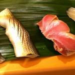 鮨処つち弥 - 料理写真:アジ、コハダ、大トロの漬け、白イカ