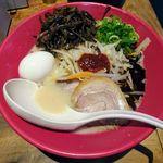 Hakataippuudou - 赤丸新味+タンメン野菜+半熟塩味玉+きくらげ