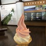 カウベリー - 料理写真:『こけもも』と『牛乳』の2色ソフト