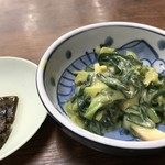 金時食堂 - わけぎの酢味噌和えと塩昆布(2018.7.18)