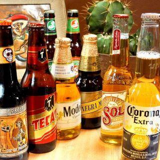 【10種以上】メキシコを中心としたビール、豊富なワイン