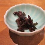 手打そば 元禄 - お通しの「山葵椎茸」