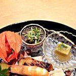 懐石 鷺風 - ほうずき、蛸と豆苗、葛豆腐