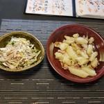 Sakesakanaomata - 塩豚ねぎゴマ油和えとジャーマンポテト