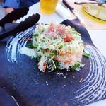 ブロカント - 豆苗と大根、生ハムシーザーサラダ