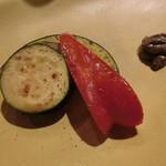 鉄板 ニシムラ - 蒸し焼き野菜盛合せ(パブリカ、ズッキーニ、レンコン、カボチャ)