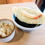 手打うどん 渡辺 - 天ぷらうどんと炊き込み御飯