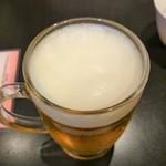 中国料理 ながさき家 - ビール 泡!