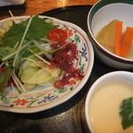 すし市場 なか安 - 寿司御膳のサラダ.煮物.茶碗蒸し