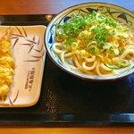 丸亀製麺 上石神井店 - かけうどん(大)(ネギ・天かすはセルフサービスのトッピング)、海老天