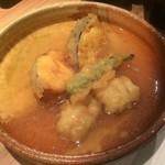 きろく - 彩り御膳、鱧と加茂茄子の天ぷらみぞれあんかけ
