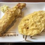 丸亀製麺 - 蓮根 110円(内税)、かしわ天 140円(内税) ※2018.07