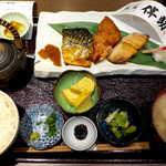 高級ブランド干物 『銀座伴助』 - 彩り3種干物定食(¥2138)。サバ・赤魚・縞ホッケの三種を、いずれも「骨なし」で楽しめる
