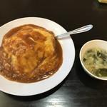 台湾料理 日月潭 - 料理写真:麻婆天津飯とスープ