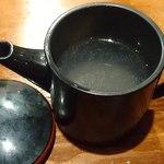 蕎麦酒肴 百景 - 蕎麦 酒肴 百景 @中葛西 ミニ丸湯桶で供されるちょっと濃いめの蕎麦湯