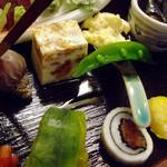 8962274 - うに豆腐、つぶ煮、海老のゆで卵和え、ホタテのピカタ