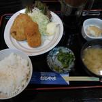 やきとりむらやま - エビクリームコロッケと里芋コロッケ定食