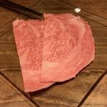 東京肉割烹 西麻布 すどう - 和牛霜降りサーロイン〜卓上岩板すき焼き〜 のサーロイン