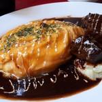山形ステーキ&カフェレストラン 飛行船 - とろとろオムライス&山形牛ビーフシチューソース(1400円) アップ