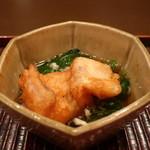 おが和 - 太刀魚の天婦羅とモロヘイヤと蕪の出汁餡がけアップ