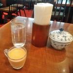 椿屋 - [料理] 赤ピーマンの冷製スープ (テーブル前列 左側)