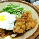 いぶきうどん - タル鶏天ぶっかけ 650円 かしわ飯 250円