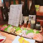 魚~ずまん - 7点盛り〜♡甘鯛、生うに、イワシ、姫あわびの醤油漬け、中トロ、イシガレイ、サーモン