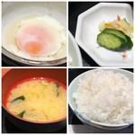博多割烹 凜屋 - 温泉卵・香の物・ご飯は大盛程度入っていますが、質は普通・お味噌汁