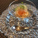 ルシェル - 料理写真:焼き茄子のピューレに鱧の炙り、いくら、梅のゼリー乗せ
