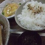 信州 - 定食のごはんとつけもの+1品(カニタマ)