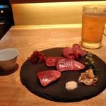 蔵出し和酒と江戸前天ぷら 甲州街道 賽 - [料理] お刺身 (ヒラマサ) セット全景♪w