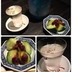 89718846 - 純米大吟醸の松みどり。➕という甘めなのにスッキリ。この胡瓜が新鮮で超美味。