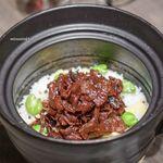 USHIGORO S Nishiazabu - 和牛しぐれ煮とじゃこ、空豆・タケノコの土鍋ご飯