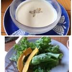 鎌倉山 - ビシソワーズが美味しい。サラダには生南瓜が。